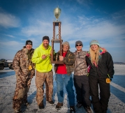 After MC'ing the Ice Castle Classic on Lac qui Parle, Bret posed with the tournament winner.
