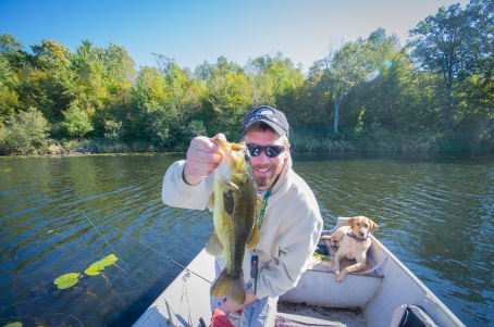 Bret and Mika bass fishing in Wisconsin