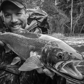 Bret with a steelhead from the north shore