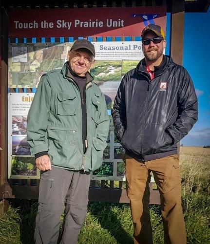 Bret with wildlife photographer Jim Brandenburg while filming for Prairie Sportsman