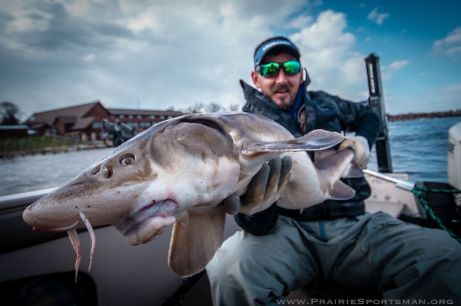 Jamie Dietman with a 46-inch sturgeon caught on the Rainy River